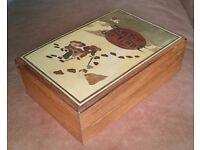 Tintin comic inlaid jewlery treasure box vintage