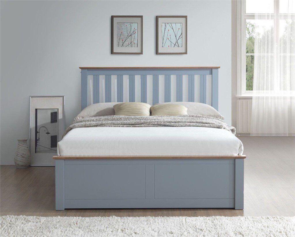 31fbfd123a16 Bradn New Phoenix Wood Ottoman Bed Frame Gas Lift Storage Double 4FT6 Stone  Grey Oak Solid