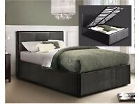 **Attractive Design**Double Gas Lift Up Ottoman Leather Storage Bed IN BROWN BLACK AND WHITE COLOUR