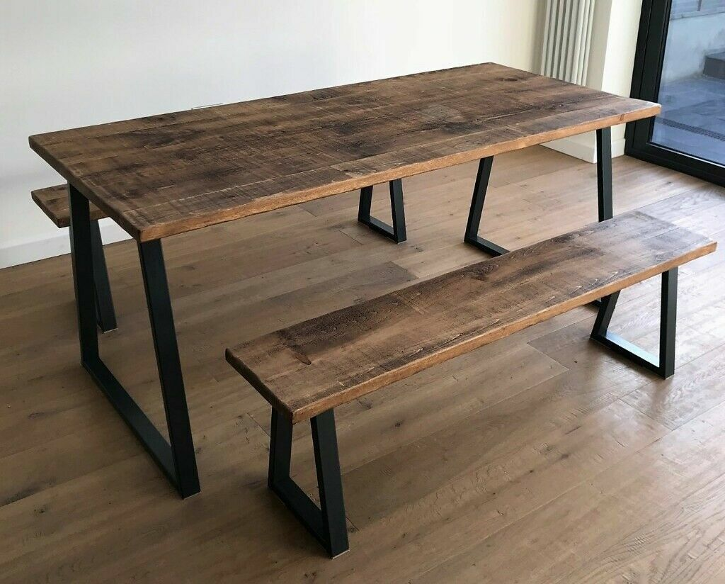 Wood Steel Oak Pine Metal Kitchen Dining Table Benches Industrial Reclaimed Rustic