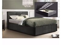 BRAND NEW DOUBLE STORAGE LEATHER BED WITH SEMI ORTHOPEDIC MATTRESS BLACK / BROWN