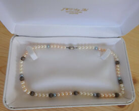 FRESHWATER PEARL NECKLACE - Silver Clasp, colour pearls