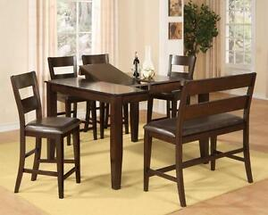 58% OFF Until August 27, 2016. Floor Model 6PC Counter Height Set.  Set include Table with butterfly leaf, 4 chairs and
