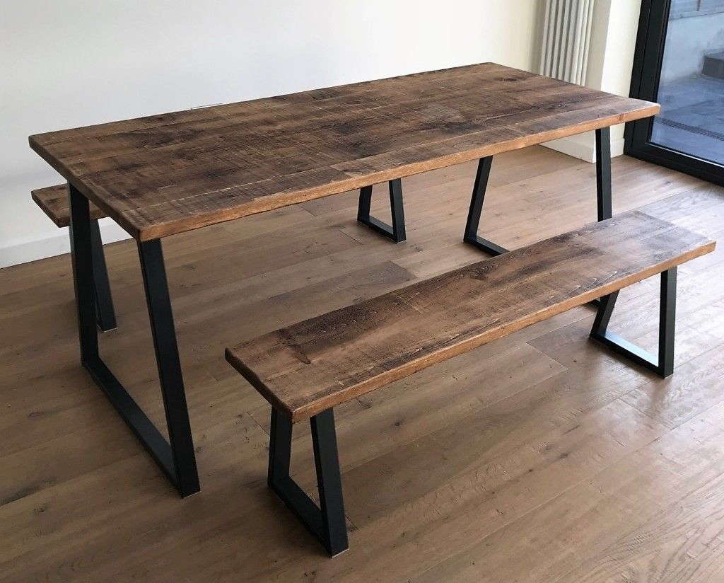 Oak Pine Industrial Reclaimed Rustic Wood Steel Metal Kitchen Dining Table Benches - Free Delivery & Oak Pine Industrial Reclaimed Rustic Wood Steel Metal Kitchen ...