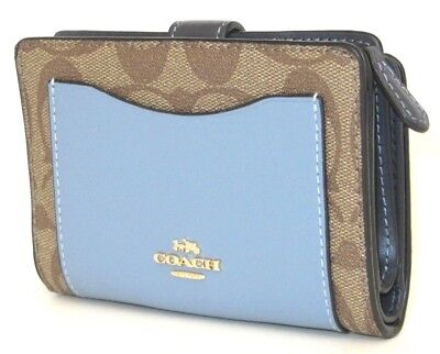 Coach Medium Corner Zip Signature Color Block Khaki Midnight Blue Wallet F27147