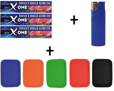 X one rolling Paper Slim Silikon tray Drehunterlage Feuerzeug Gas Dreh Tablett ()