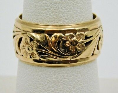 (Heavy Estate 14K Yellow Gold Rich Color Wide Band Floral Pattern Style Ring Band)