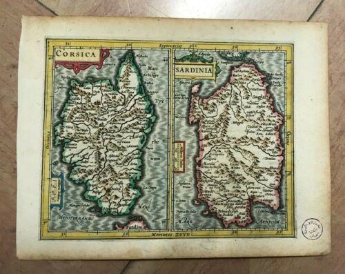 CORSICA FRANCE SARDINIA ITALY 1607 MERCATOR/ HONDIUS ATLAS MINOR ANTIQUE MAP