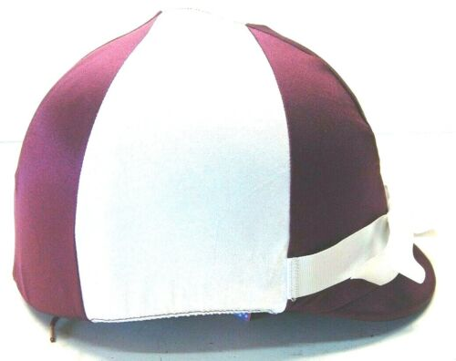 Burgundy and White w/ White Bow Helmet Helpers Equestrian Helmet Covers Tack