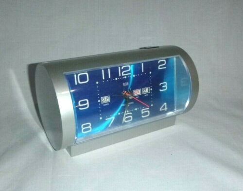 Vtg Mid Century MOD Elgin Tube Shaped Battery Operated Alarm Clock Turquoise
