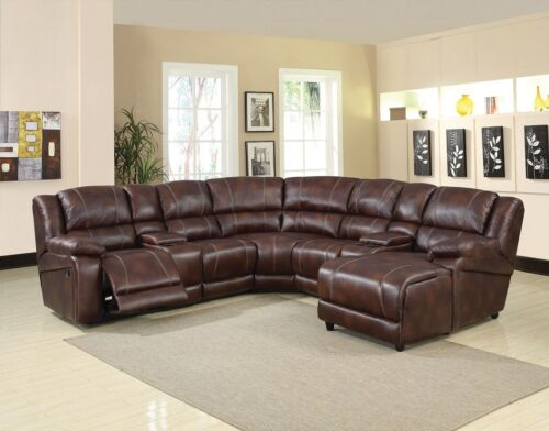 Modern Home Theater Chaise Console Reclining Chair Brown Microfiber Sofa Set