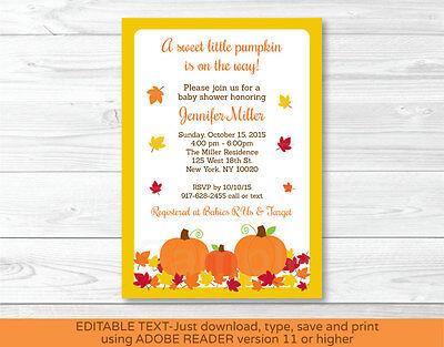 Fall Pumpkin Printable Baby Shower Invitation Editable PDF](Pumpkin Baby Shower Invitations)