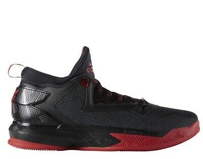 [F37124] Mens Adidas D Lillard 2 Basketball Shoe - Black/Red Dame - Adidas Red Basketball Shoe