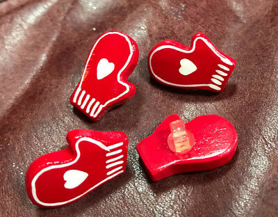 """RED MITTEN BUTTON ~ SET OF 8 ~ SHANK ~ 7/8"""" SIZE for sale  Shipping to India"""