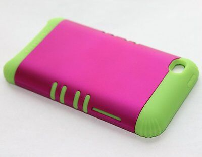 iPod Touch 4th Gen - HARD & SOFT RUBBER HYBRID ARMOR CASE HOT PINK / LIME GREEN Ipod Touch 4 Hybrid