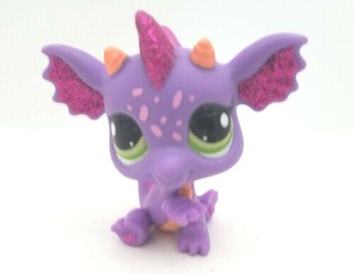 Littlest Pet Shop LPS Glistening Garden Fairy Purple Glitter Dragon #2660