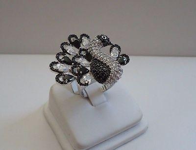 925 STERLING SILVER PEACOCK RING W/ 10 CT WHITE & BLACK LAB DIAMONDS/ SZ 5 - 9 10 Ct Diamonds Ring