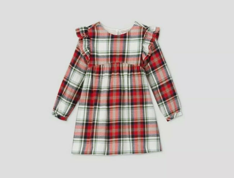 New Baby Girl Plaid Long Sleeve Flannel 2 pcs Dress Diaper Cat & Jack 12 mo