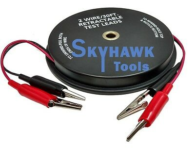 2 Wire 18 Gauge 30 Ft Retractable Test Leads Probes In Reel With Alligator Clips