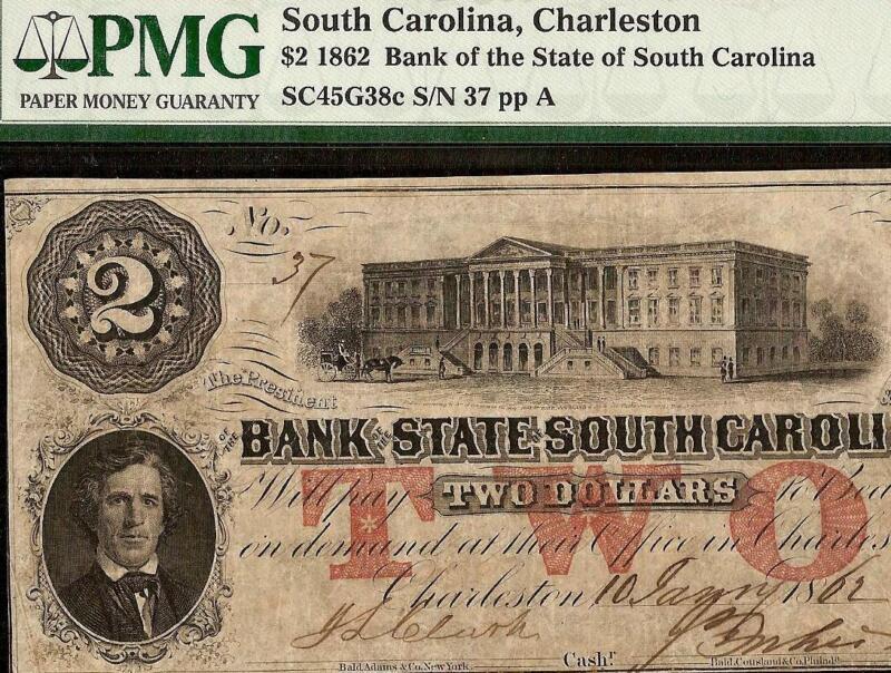 LARGE 1861 $2 DOLLAR LOW 37 SOUTH CAROLINA BANK NOTE PAPER MONEY GIFT IDEA PMG