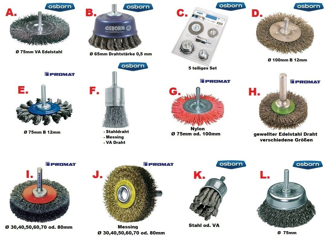 OSBORN / PROMAT Industrie Draht Bürsten für Bohrmaschinen / Akkuschrauber