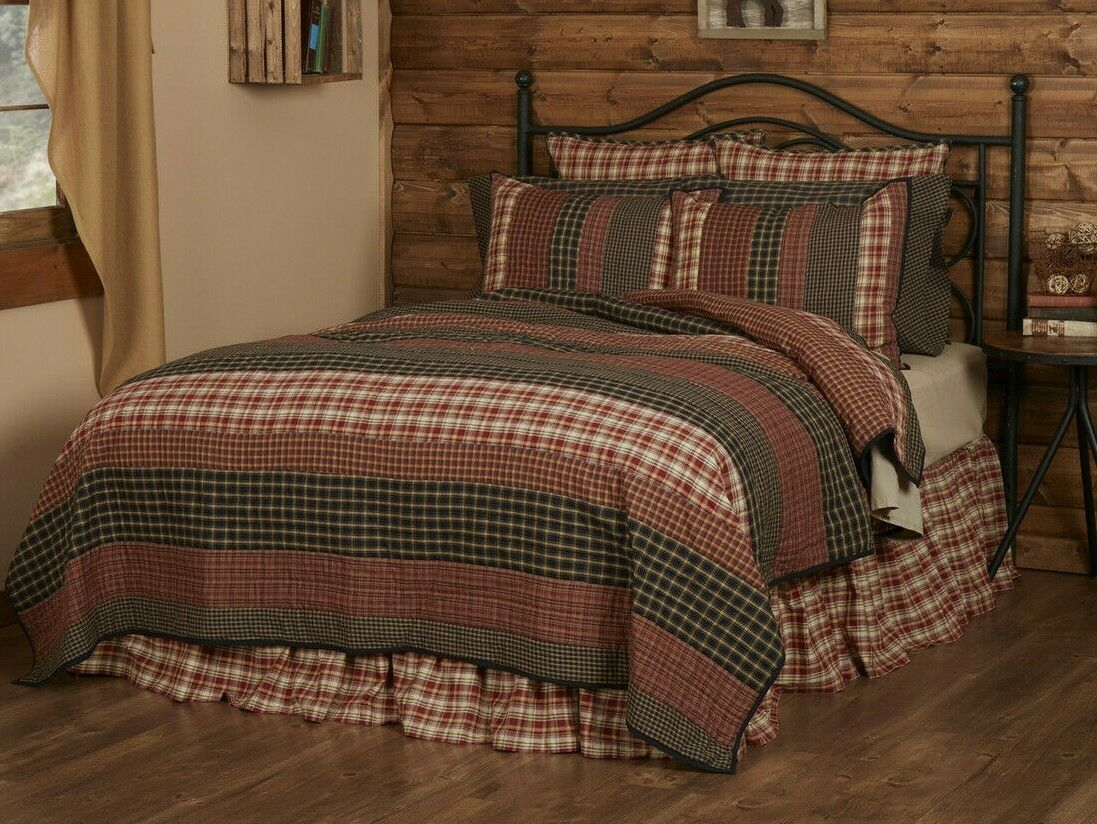 BECKHAM QUILT SET-choose size & accessories-Rustic Plaid Str