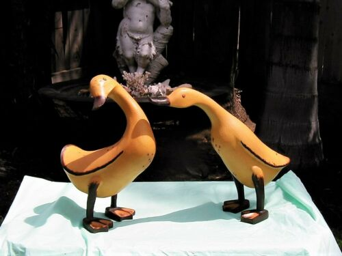 Vintage Life Size Country Carved & Painted Geese Goose