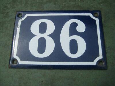 Vintage,Original,French, Blue, Enamel House Number 86