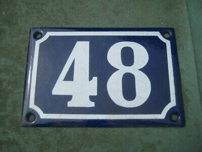 Vintage,Original,French, Blue, Enamel House Number 48