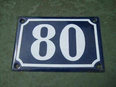 Vintage,Original,French, Blue, Enamel House Number 80