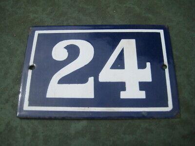 Vintage,Original,French, Blue, Enamel House Number 24