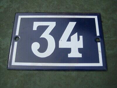 Vintage,Original,French, Blue, Enamel House Number 34