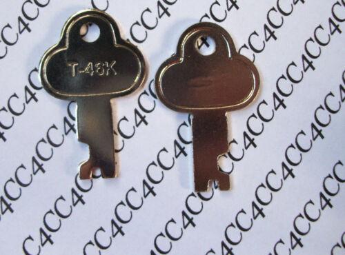 TWO ~ T46 Steamer Trunk Keys Precut Long Footlocker Key T-46K replacement key