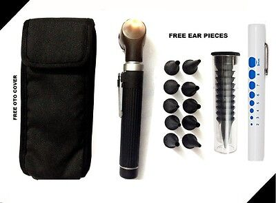 Black Led Light Mini Fiber Optic Pocket Ent Medical Otoscope Free Penlight