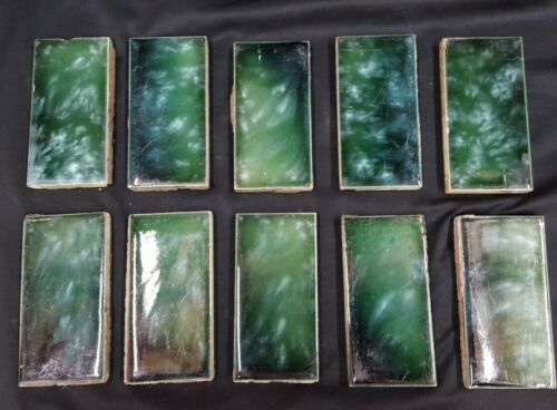Set of 30 Architectural Salvaged 4 1/8 x 2 1/8 Ceramic Tile Blue Green Swirl