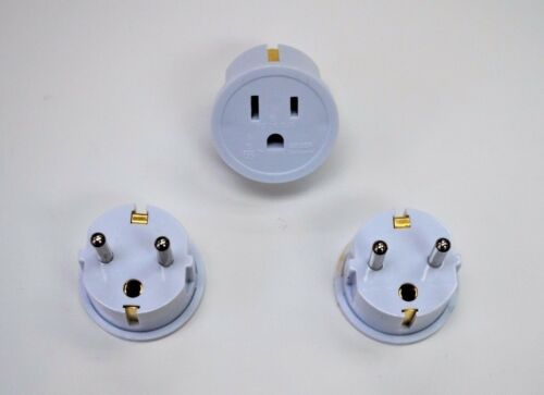 American to European Grounded Schuko Outlet Plug Adapter German France - 3 Pack