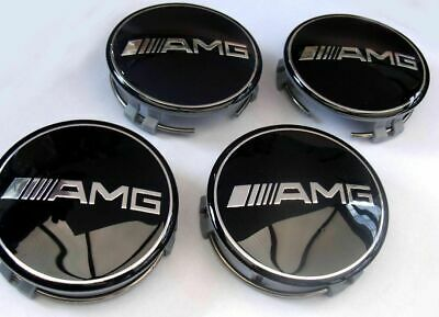 4x Mercedes Benz Alloy Wheel Centre Caps 75mm Badges BLACK AMG Hub Emblem