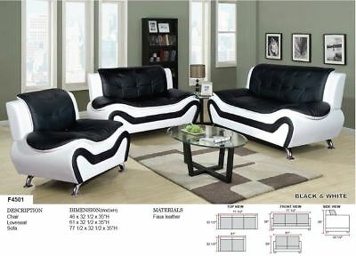 AYCP Furniture 3PC Living Room Sofa Set, Faux Leather, Blk/Immaculate, youPick-wePack