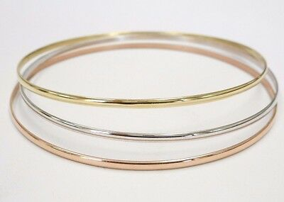 10 K.&14 K. Solid Gold(Not Hollow) 2 mm.Half Round Wire Stacking Bangle Bracelet 14k Solid Gold Bangle