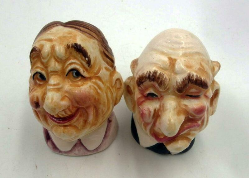 RARE VINTAGE JAPAN OLD MAN & WOMAN HEADS BUSTS SALT & PEPPER SHAKERS SET