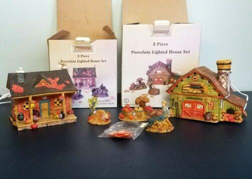 Vintage Harvest Bounty Lot Thanksgiving lighted house porcelain House & Barn