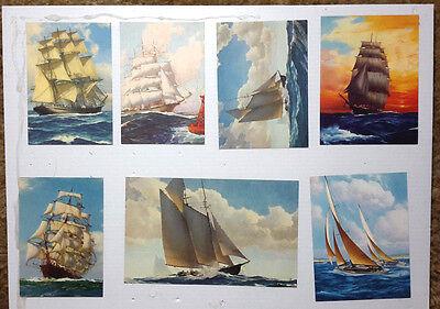 Brown/Bigelow 1950s Sailing Ship Salesman Sample Calendar Print Lot of 7 (C5626)