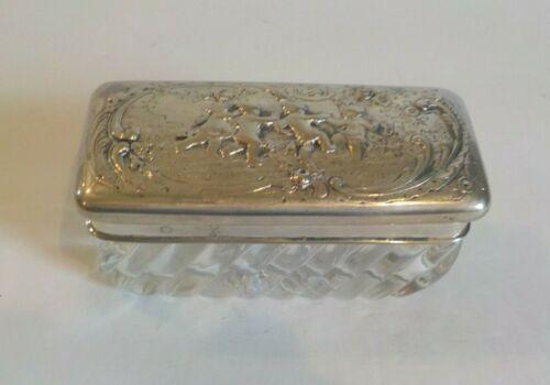 Storch & Sinsheimer Hanau Swirl Glass Box,.800 Silver Lid, Cherubs, c. 1890
