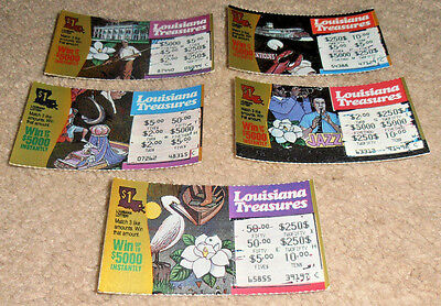 Vintage 1991 1St Lottery Ticket Louisiana Treasures Set Lot Jazz Mardi Gras