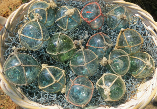 """Japanese Glass Fishing FLOATS 2"""" Netted LOT-15 Round Net Buoy Authentic Antiques"""