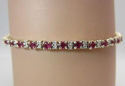 14K Yellow Gold Ruby Diamond Tennis Bracelet 3.68 CT
