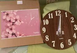 Topkey 12 Inch Luminous Wall Clock Silent Wooden Design Night Lights Round Wall