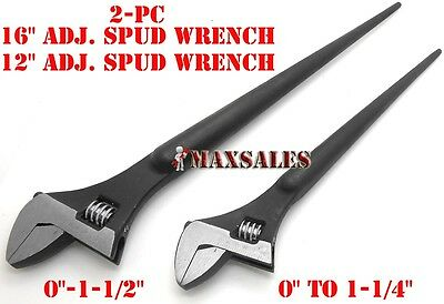 2pc 16 12 Adjustable Spud Wrench Tapered Handles For Aligning Bolts