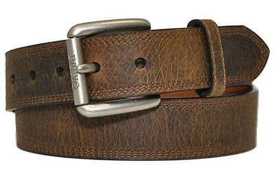 Ariat Western Mens Belt Leather Work Triple Stitch Aged Bark A10011713 Ariat Mens Work Belt