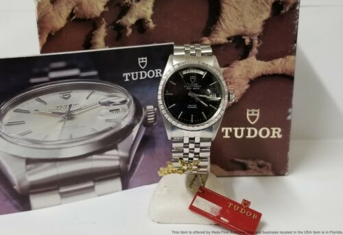 Vintage Rolex Tudor 94510 Day Date Oyster Prince Black Dial w Box Tags Booklets - watch picture 1